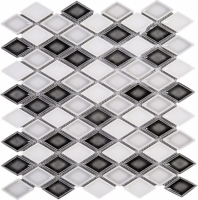 Handmade Grey and White Diamond Ceramic Mosaic Tile Polished JHMA13