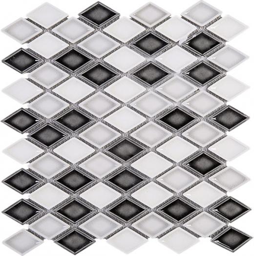 Handmade Grey White Diamond Ceramic Mosaic Tile Polished Jhma13 Hdaz