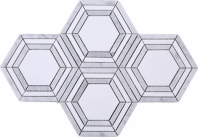 Brick Hexagon Grey and White Stone Mosaic Tile JINT1