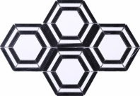 Hexagon Black and White Stone Mosaic Tile JINT2