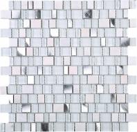 Random Offset White White Glass Aluminum Mosaic Tile JIST1