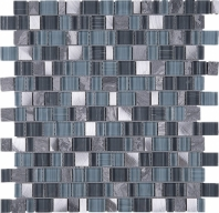 Random Offset Turquoise Blue Grey Glass Stone Mosaic Tile JIST2