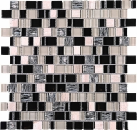 Random Offset Beige Beige and Black Glass Stone Mosaic Tile JIST3