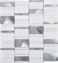 Random Offset White Brick White Glass Aluminum Mosaic Tile JIST5