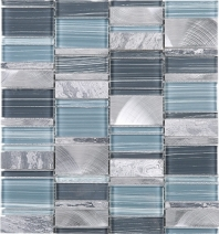 Random Offset Blue Brick Blue Glass Stone and Aluminum Mosaic Tile JIST6