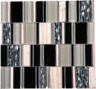 Random Offset Beige Brick Beige and Black Glass Stone Mosaic Tile JIST7