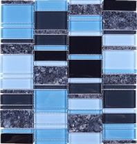 Random Offset Blue Grey Brick Black Glass Grey Stone Mosaic Tile JIST8