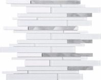 White Slender White Glass Aluminum Interlocking Mosaic Tile JIST9
