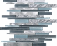 Grey Slender Blue Glass Aluminum and Stone Interlocking Mosaic Tile JIST10
