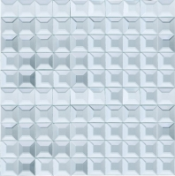 Beveled Glass 1x1 Mosaic Silver Mirror Square Tile JMRM1
