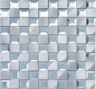 Beveled Glass 1x1 Mosaic Aluminum and Silver Square Tile JMRM4