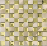 Beveled Glass 1x1 Mosaic Aluminum Gold Square Tile JMRM5
