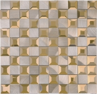Beveled Glass 1x1 Mosaic Aluminum Brown Square Tile JMRM6