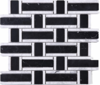 Black Marquina Basketweave Polished Stone Mosaic Tile JNEA1