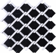 Black Marquina Interlace Polished Stone Mosaic Tile JNEA2