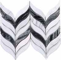 Black and White Marble Chevron Mosaic Tile JNL1