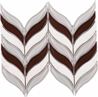 Brown and White Marble Chevron Mosaic Tile JNL3