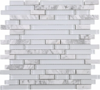 White Glass Interlocking and Marble Brick Mosaic Tile JNLQ1