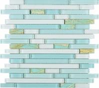 Green Resin Glass Interlocking Mosaic Tile JNLQ2