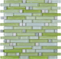 Green Stripe Glass Interlocking Mosaic Tile JNLQ4