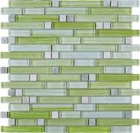 Green Stripe Glass Interlocking Mosaic Tile JNLQ4