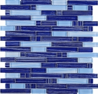 Blue Stripe Glass Interlocking Mosaic Tile JNLQ5