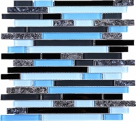 Blue Black Glass Interlocking Glass Aluminum Mosaic Tile JNLQ6