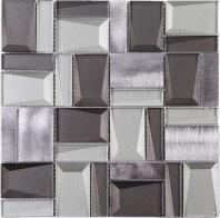Strolling Grey Glass Aluminum Mosaic Tile JPHAN1
