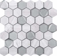 Hexagon Wooden Grey and Grey Glass and Stone Mosaic Tile JPHAN3
