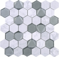 Hexagon White Carrara Grey Glass and Stone Mosaic Tile JPHAN4