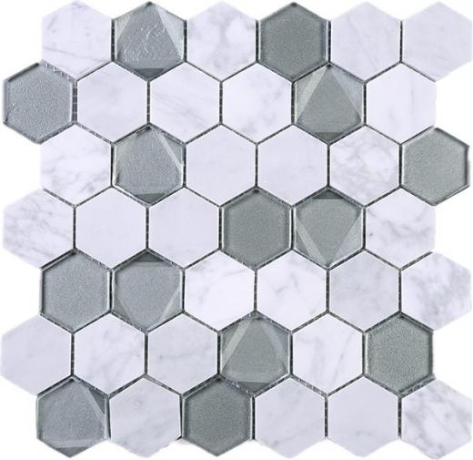 10sf Carrara White Marble Gray Glass Linear Mosaic Tile: Hexagon White Carrara Grey Glass And Stone Mosaic Tile