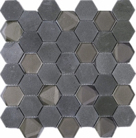 Hexagon Black Marble and Black Glass and Stone Mosaic Tile JPHAN5