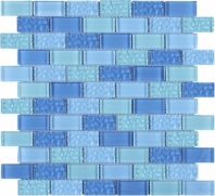 Blue Brick Glass Mosaic Tile JRCE1
