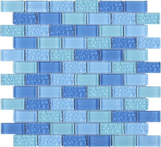 Blue Brick Glass Mosaic Tile JRCE1