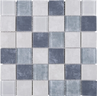 2x2 Grid Blue Square Glass Mosaic Tile JREGL1