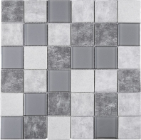 2x2 Grid Grey Square Glass Mosaic Tile JREGL2