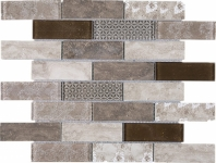 Brown Brick Staggered Glass Mosaic Tile JREGL4