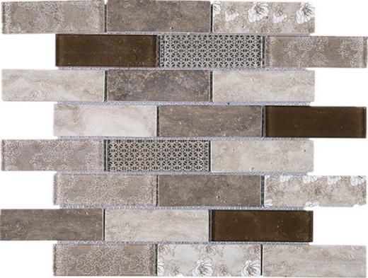 Brown Brick Staggered Glass Mosaic Tile JREGL4