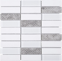 White Stacked Glass Mosaic Tile JREGL5