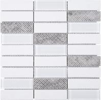 White Stacked Glass Mosaic Tile JREGL5