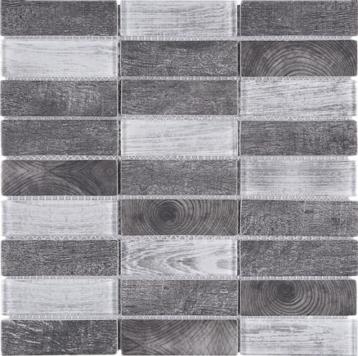 Grey Stacked Glass Vintage Mosaic Tile JREGL6