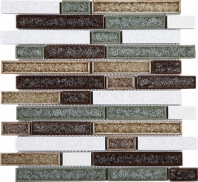 Roman Art Random Interlocking Glass and Ceramic Brick Mosaic Tile JRPC3