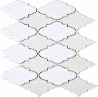 Roman Art Arabesque White Grey Mosaic Tile JRPC9
