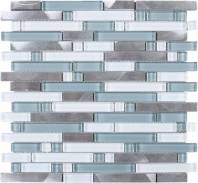 Silver Brick Interlocking Mosaic Blue Tile JSBK1