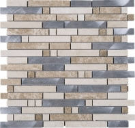 Silver Brick Interlocking Mosaic Gold Tile JSBK2