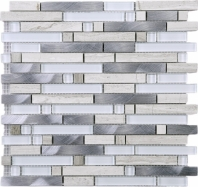 Silver Brick Interlocking Mosaic Grey Wooden Aluminum and Glass Tile JSBK3