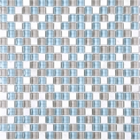Mini Green Green and Beige and White Glass Square Mosaic Tile JSDF1