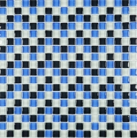 Mini Blue Blue and White Glass Square Mosaic Tile JSDF2
