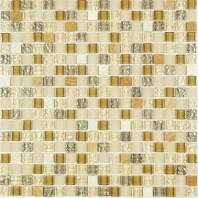 Mini Beige Beige and Brown Glass Square Mosaic Tile JSDF3