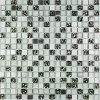 Mini Black and White and Stainless Steel Square Mosaic Tile JSDF4